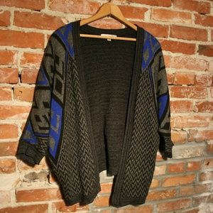 Say What? Open Front Batwing Tribal Print Cardigan